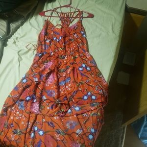 Candie's Dresses - Red floral maxi romper